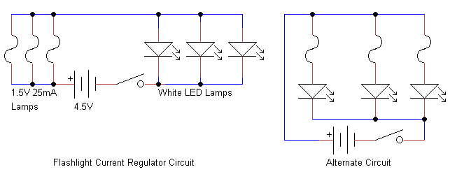 simple current limiter for led flashlights the schematic shows this arrangement as well as the possibly better arrangement of one lamp one led